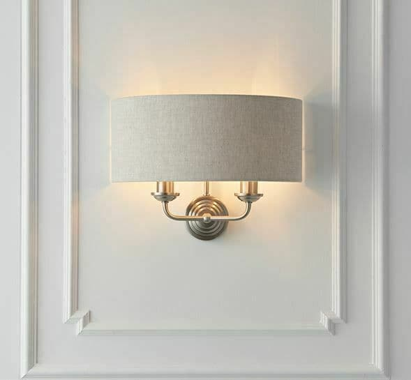 Highclere 2 Light wall Brushed chrome, natural linen fabric & reflective inner